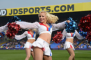 Crystal Palace Crystals Cheerleader performing before k/o. Barclays Premier League match, Crystal Palace v West Bromwich Albion at Selhurst Park in London on Saturday 3rd October 2015.<br /> pic by John Patrick Fletcher, Andrew Orchard sports photography.