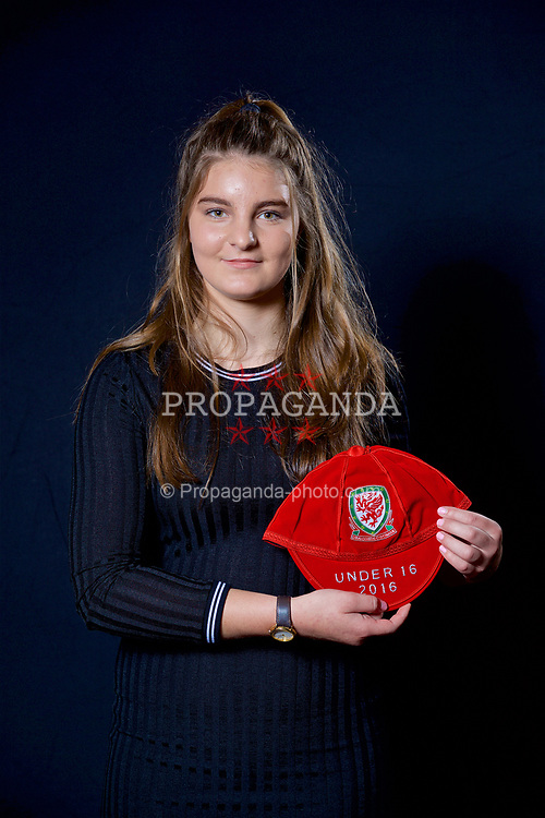 NEWPORT, WALES - Saturday, May 27, 2017: Erin Riden with her Under-16 Wales cap at the Celtic Manor Resort. (Pic by David Rawcliffe/Propaganda)