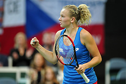 November 10, 2018 - Prague, Czech Republic - Katerina Siniakova of the Czech Republic celebrates after winning a point during the 2018 Fed Cup Final between the Czech Republic and the United States of America in Prague in the Czech Republic. (Credit Image: © Slavek Ruta/ZUMA Wire)