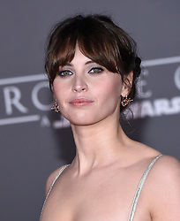December 10, 2016 - Hollywood, California, U.S. - Felicity Jones arrives for the premiere of the film 'Rogue One: A Star Wars Story' at the Pantages theater. (Credit Image: © Lisa O'Connor via ZUMA Wire)