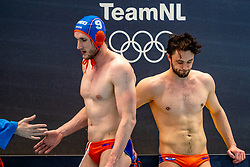 Jorn Muller, Pascal Janssen of the Netherlands disappointed against Montenegro during the Olympic qualifying tournament. The Dutch water polo players are on the hunt for a starting ticket for the Olympic Games on February 19, 2021 in Rotterdam