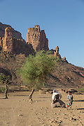 Children by mountains near Hawzen Town, Gheralta area, Tigray, Ethiopia, Horn of Africa