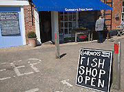 Gurneys fish shop in the village of Burnham Market, Norfolk, England