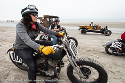 Karen Howell on her 1942 Harley-Davidson WLA 45 inch flathead racer at TROG (The Race Of Gentlemen). Wildwood, NJ. USA. Sunday June 10, 2018. Photography ©2018 Michael Lichter.