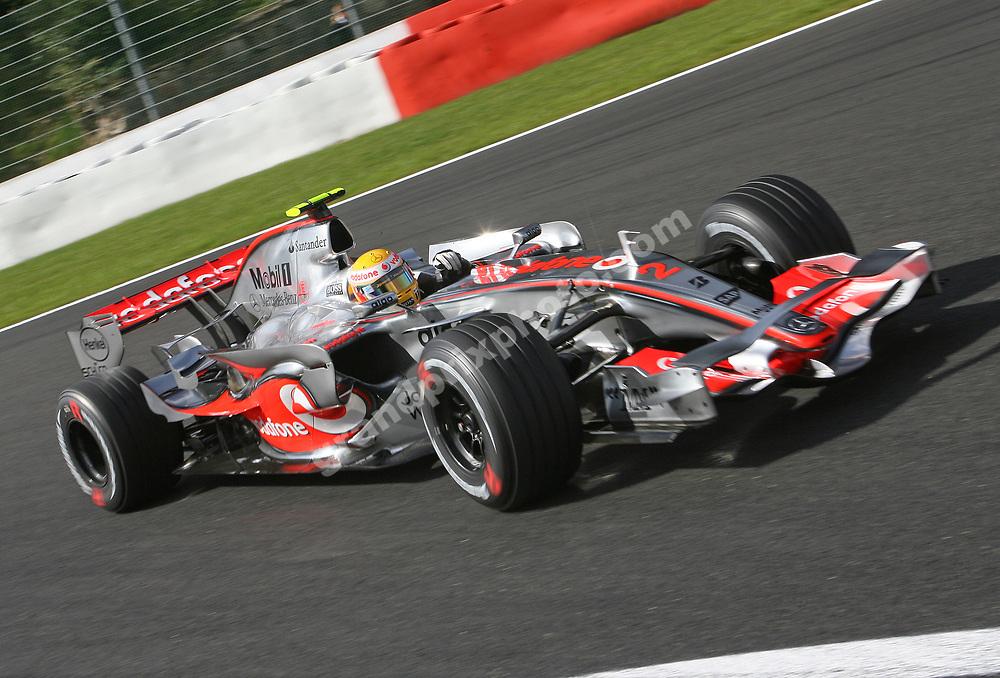 Lewis Hamilton (McLaren-Mercedes) during practice for the 2007 Belgian Grand Prix in Spa-Francorchamps. Photo: Grand Prix Photo