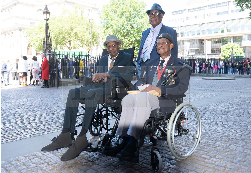 © Licensed to London News Pictures. 22/06/2018. London, UK. World War II veteran Winston White, John Richards and World War II veteran Allan White all from the Windrush generation attends a service of Thanksgiving at Westminster Abbey to mark the 70th Anniversary of the Landing of the Windrush. The MV Windrush ship docked at Tilbury in the Port of London on 22nd June 1948 and  was carrying 492 passengers from the port of Kingston in Jamaica. Photo credit: Ray Tang/LNP