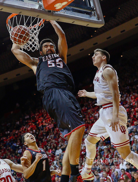 BLOOMINGTON, IN - NOVEMBER 24: Venky Jois #55 of the Eastern Washington Eagles dunks the ball as Max Hoetzel #3 of the Indiana Hoosiers looks on at Assembly Hall on November 24, 2014 in Bloomington, Indiana. Eastern Washington defeated Indiana 88-86. (Photo by Michael Hickey/Getty Images) *** Local Caption *** Venky Jois; Max Hoetzel
