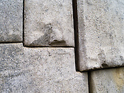A detailed view of the precision masonry on display at the Incan ruins of Machu Picchu, near Aguas Calientes, Peru.