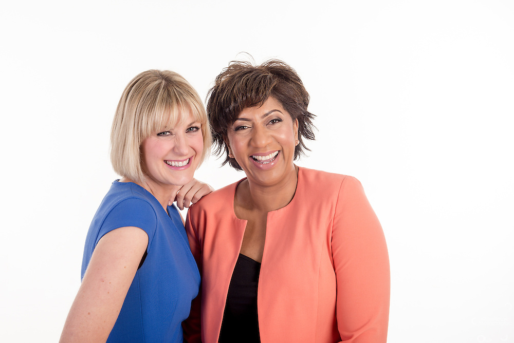 Trish Adudu and Jo Tidman for BBC Radio Coventry and Warwickshire. Whole series of the New Breakfast show hosts for Marketing, publicity and player use.<br /> <br /> Studio Corporate Portrait Photographer Birmingham.