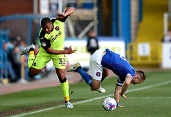 Reuben Reid of Exeter City is tackled by Tom Miller of Carlisle United - Mandatory by-line: Robbie Stephenson/JMP - 14/05/2017 - FOOTBALL - Brunton Park - Carlisle, England - Carlisle United v Exeter City - Sky Bet League Two Play-off Semi-Final 1st Leg