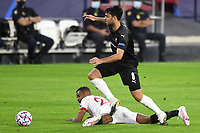 SEVILLE, SPAIN - OCTOBER 28: Fernando Reges of FC Sevilla and Clement Grenier of Stade Rennais during the UEFA Champions League Group E stage match between FC Sevilla and Stade Rennais at Estadio Ramon Sanchez-Pizjuan on October 28, 2020 in Seville, Spain. (Photo by Juan Jose Ubeda/ MB Media).