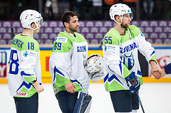 Ken Ograjensek of Slovenia, Matija Pintaric of Slovenia and Robert Sabolic of Slovenia after the 2017 IIHF Men's World Championship group B Ice hockey match between National Teams of France and Slovenia, on May 15, 2017 in AccorHotels Arena in Paris, France. Photo by Vid Ponikvar / Sportida