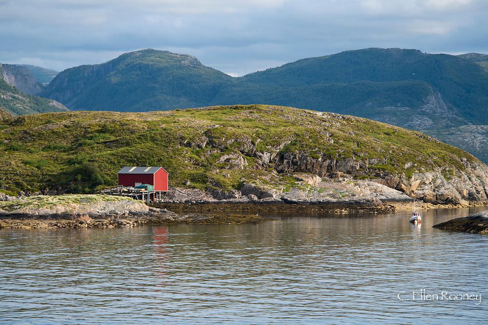 Coastal scenery along Naeroyfjord, Aurland, Norway, Europe