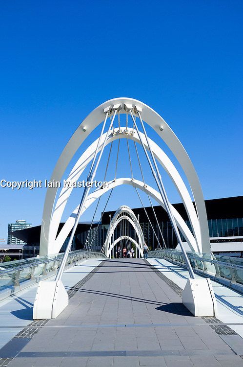 Modern Seafarer's Bridge across the Yarra River in central Melbourne Australia
