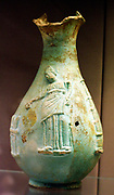 Faience oinochoe (jug) showing Queen Arsinoe III of Egypt (221-203) Made in Egypt about 220-200 BC Said to be from Canoas, Italy