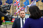 Ian Murray, Labour Mp speaking to media outside the Houses of Parliament on 23rd October, 2019 in London, England, United Kingdom. The government await news from the EU granting another Brexit extension. Last night Prime Minister Boris Johnson 'paused' discussions on his EU withdrawal bill after MPs voted against the government rushing it through in three days, Speaker John Bercow described the bill as bill now being in limbo.