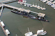 Aerial view of the USS Clamagore submarine at Patriots Point in Mount Pleasant, SC.