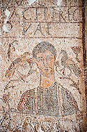 The Christian Eastern Roman Byzantine memorial funerary mosaic of an un-named man described as gentle and depicted with a bushel used to measure grain from the public grain warehouse. On its side is teh Chi Rho symbols used by early Christians to represent Christ.  Thabarca, Tabarks, 5th Century AD, Bardo Museum, Tunis, Tunisia .<br /> <br /> If you prefer to buy from our ALAMY PHOTO LIBRARY  Collection visit : https://www.alamy.com/portfolio/paul-williams-funkystock/roman-mosaic.html - Type -   Bardo    - into the LOWER SEARCH WITHIN GALLERY box. Refine search by adding background colour, place, museum etc<br /> <br /> Visit our ROMAN MOSAIC PHOTO COLLECTIONS for more photos to download  as wall art prints https://funkystock.photoshelter.com/gallery-collection/Roman-Mosaics-Art-Pictures-Images/C0000LcfNel7FpLI