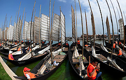 KUNMING, Sept. 13, 2016 (Xinhua) -- Fishermen prepare for fishing on the Dianchi Lake in Kunming, capital of southwest China's Yunnan Province, Sept. 13, 2016. Dianchi Lake officially opened for fishing on Tuesday. This year, fishing is divided into two periods. During the first period from Sept. 13 to 24, fishermen can catch big fish. While during the second period from Sept. 29 to Oct. 23, they can fish for whitebaits and shrimps.    (Xinhua/Lin Yiguang) (wyo) (Credit Image: © Lin Yiguang/Xinhua via ZUMA Wire)