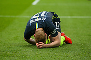 Manchester City midfielder Kevin De Bruyne (17) after a tackle during the The FA Cup semi-final match between Manchester City and Brighton and Hove Albion at Wembley Stadium, London, England on 6 April 2019.