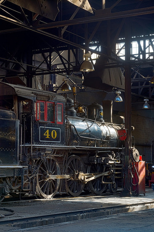 1910 Baldwin steam locomotive in the engine house of the historic Nevada Northern Railway in Ely, Nevada.