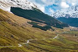 View of old military road in Glen Coe known as Rest and Be Thankful in Argyll and Bute in Scotland, United Kingdom