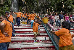 August 26, 2017 - Kuala Lumpur, MALAYSIA - Two hundreds of Hindu devotees from South India carrying of construction materials to the top for temple construction at the holy place Batu Cavesin Kuala Lumpur, Malaysia on August 26, 2017 (Credit Image: © Chris Jung via ZUMA Wire)