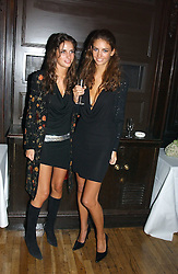 Left to right, sisters MISS MARINA HANBURY and MISS ROSE HANBURY at a party to celebrate the publication of Andrew Robert's new book 'Waterloo: Napoleon's Last Gamble' and the launch of the paperback version of Leonie Fried's book 'Catherine de Medici' held at the English-Speaking Union, Dartmouth House, 37 Charles Street, London W1 on 8th February 2005.<br />