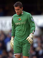 Photo: Olly Greenwood.<br />Tottenham Hotspur v Watford. The Barclays Premiership. 17/03/2007. Watford's Ben Foster looks distraught after Spurs score from Paul Robinson