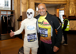 A competitor dressed as a mummy during the 2019 London Landmarks Half Marathon.