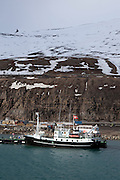 Ship alongside in the port of Longyearbyen, Spitsbergen, in the archipelago of Svalbard.