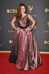 Debra Messing at the 69th Annual Emmy Awards held at the Microsoft Theater on September 17, 2017 in Los Angeles, CA, USA (Photo by Sthanlee B. Mirador/Sipa USA)