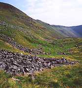 Scree slope in U-shaped glaciated valley of High Cup, Cumbria, north Pennines, England, UK