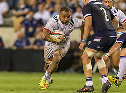 June 16, 2018 - Houston, Texas, US - USA Men's Rugby Team lock Samu Manoa (4) run the ball during the Emirates Summer Series 2018 match between USA Men's Team vs Scotland Men's Team at BBVA Compass Stadium, Houston, Texas (Credit Image: © Maria Lysaker via ZUMA Wire)
