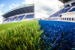 A landscape image taken with a fish-eye lens showing the the new pitch work at The Falkirk Stadium, with the new pitch work for the Scottish Championship game v Morton. The woven GreenFields MX synthetic turf and the surface has been specifically designed for football with 50mm tufts compared with the longer 65mm which has been used for mixed football and rugby uses.  It is fully FFA two star compliant and conforms to rules laid out by the SPL and SFL.<br /> ©Michael Schofield.