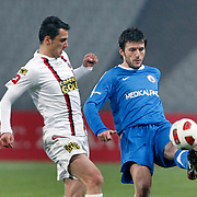 Istanbul BBS's Ibrahim AKIN (R) during their Turkey Cup semi final soccer firsth match Istanbul BBS between Genclerbirligi at the Ataturk Olympic stadium in Istanbul Turkey on Thursday 07 April 2011. Photo by TURKPIX