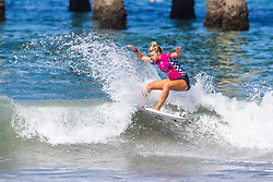 Kirra Pinkerton (USA) advances to the Semifinals of the 2918 Junior Women's VANS US Open of Surfing after placing second in Quarterfinal Heat 3 of Round 1 at Huntington Beach, CA, USA.