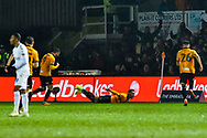 Goal Celebration - Robbie Willmott (7) of Newport County celebrates scoring a goal to give a 1-0 lead to the home team during the The FA Cup match between Newport County and Middlesbrough at Rodney Parade, Newport, Wales on 5 February 2019.