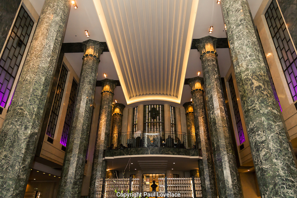 Interior shots of Rockpool Bar and Grill, owned by famous chef Neil Perry, showing the Grand Chamber. The building occupies the old city mutual building on the corner of Bligh Street and Hunter Street, Sydney. Because this is a heritage listed building certain restrictions were imposed when it was being refurbished by the Interior Designers Bates Smart, The spectacular pillars are clearly a unique feature to  this amazing art deco interior. The refurbishment and fit-out was completed in March 2009.