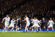 Scotland players break for the corner during the UEFA Nations League match between Scotland and Israel at Hampden Park, Glasgow, United Kingdom on 20 November 2018.