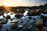 Tide pool at sunset. Great Tidepool, Pacific Grove, CA