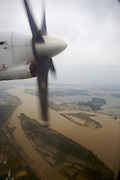 Danang and Han River seen from aboard a Vietnam Airlines ATR 72 starting to Nha Trang.