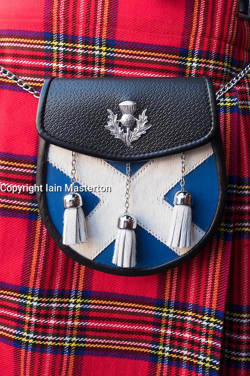 Close up of traditional Scottish tartan kilt and sporran