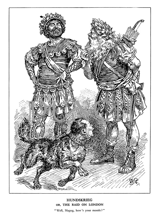"""Hundskrieg or, the Raid on London. """"Well, Magog, how's your morale?"""" (London guardians Gog and Magog are unbothered by the Goering dog)"""