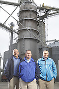 SHOT 10/29/18 9:54:17 AM - Sunrise Cooperative is a leading agricultural and energy cooperative based in Fremont, Ohio with members spanning from the Ohio River to Lake Erie. Sunrise is 100-percent farmer-owned and was formed through the merger of Trupointe Cooperative and Sunrise Cooperative on September 1, 2016. Photographed at the Clyde, Ohio grain elevator was George D. Secor President / CEO and John Lowry<br /> Chairman of the Board of Directors with  CoBank RM Gary Weidenborner. (Photo by Marc Piscotty © 2018)
