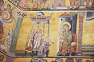 The Medieval mosaics of the ceiling of The Baptistry of Florence Duomo ( Battistero di San Giovanni ) showing the Three Wise Men giving gifts to the Baby Jesus ,  started in 1225 by Venetian craftsmen in a Byzantine style and completed in the 14th century. Florence Italy .<br /> <br /> If you prefer you can also buy from our ALAMY PHOTO LIBRARY  Collection visit : https://www.alamy.com/portfolio/paul-williams-funkystock/byzantine-art-antiquities.html . Type -   Florence   - into the LOWER SEARCH WITHIN GALLERY box. Refine search by adding subject etc<br /> <br /> Visit our BYZANTINE ART PHOTO COLLECTION for more   photos  to download or buy as prints https://funkystock.photoshelter.com/gallery-collection/Roman-Byzantine-Art-Artefacts-Antiquities-Historic-Sites-Pictures-Images-of/C0000lW_87AclrOk .<br /> <br /> Visit our ITALY PHOTO COLLECTION for more   photos of Italy to download or buy as prints https://funkystock.photoshelter.com/gallery-collection/2b-Pictures-Images-of-Italy-Photos-of-Italian-Historic-Landmark-Sites/C0000qxA2zGFjd_k<br /> .<br /> <br /> Visit our MEDIEVAL PHOTO COLLECTIONS for more   photos  to download or buy as prints https://funkystock.photoshelter.com/gallery-collection/Medieval-Middle-Ages-Historic-Places-Arcaeological-Sites-Pictures-Images-of/C0000B5ZA54_WD0s