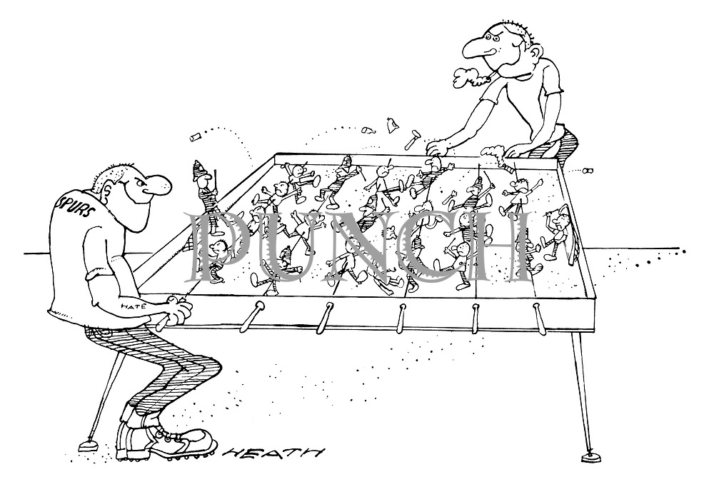 (Two thugs are playing table football, but instead of football players, the figures are policemen and football hooligans)