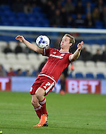 Grant Leadbitter of Middlesbrough in action. Skybet football league championship match, Cardiff city v Middlesbrough at the Cardiff city Stadium in Cardiff, South Wales  on Tuesday 20th October 2015.<br /> pic by  Andrew Orchard, Andrew Orchard sports photography.