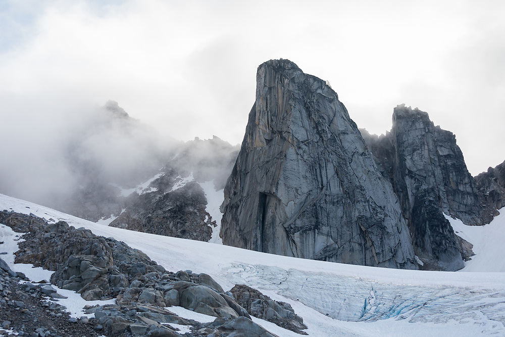 Gar Wall at sunrise with clouds in East Creek, Bugaboo, Provincial Park, BC