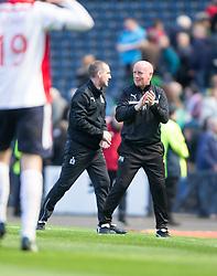 Falkirk's manager Peter Houston cele the win.<br /> Hibernian 0 v 1 Falkirk, William Hill Scottish Cup semi-final, played 18/4/2015 at Hamden Park, Glasgow.
